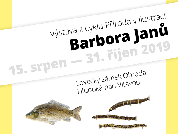Výstava ilustrací na zámku Ohrada vHluboké nad Vltavou, 2019